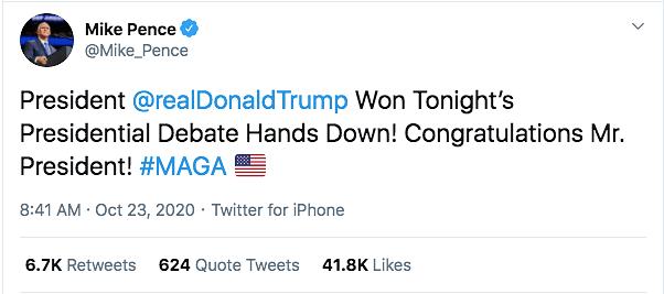 Post Biden-Trump Spar, Harris & Pence Congratulate on Debate 'Win'
