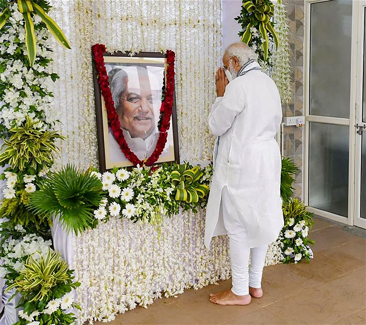 Prime Minister Narendra Modi pays tribute to former Gujarat chief minister late Keshubhai Patel in Gandhinagar, Friday, 30 October.
