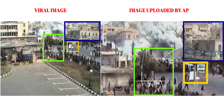 Left: Viral image. Right: Image uploaded by AP.