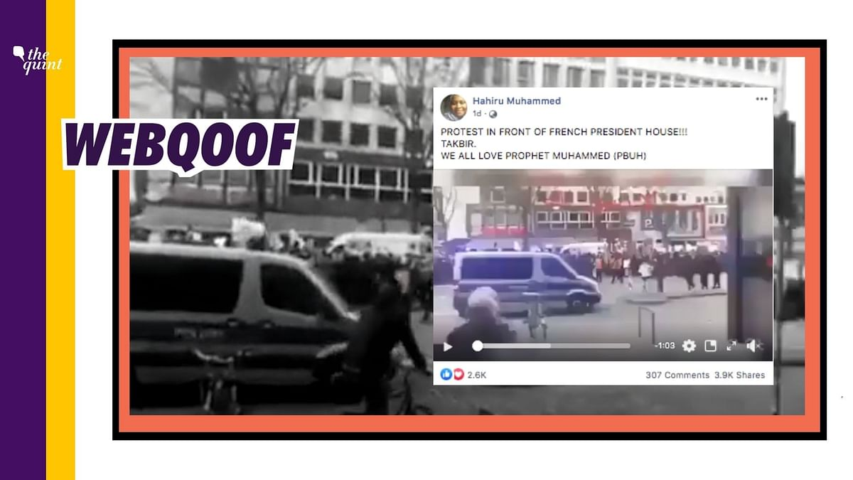 A video from Hamburg in Germany has been falsely used to claim that it shows a protest in front of house of France's president.