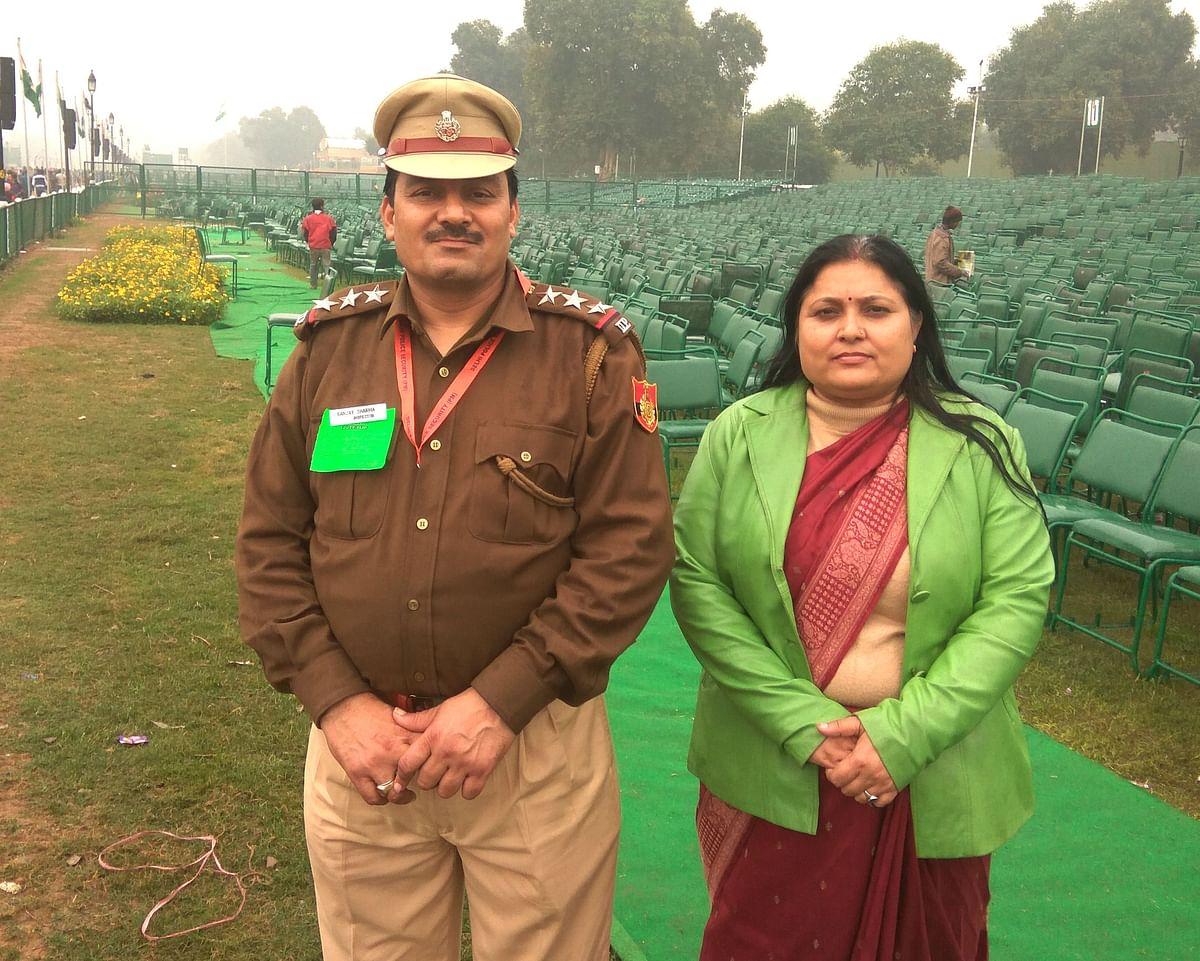 Inspector Sanjay Sharma with wife Aruna Pathak Sharma.
