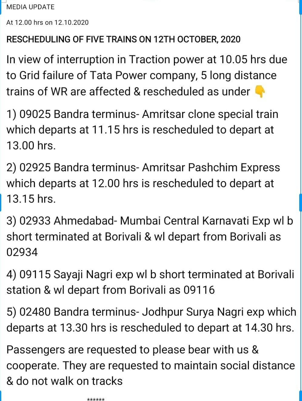 Outstation trains rescheduled by Western Railway