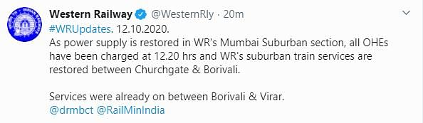 Mumbai Power Supply Restored in Most Areas, Train Services Resume