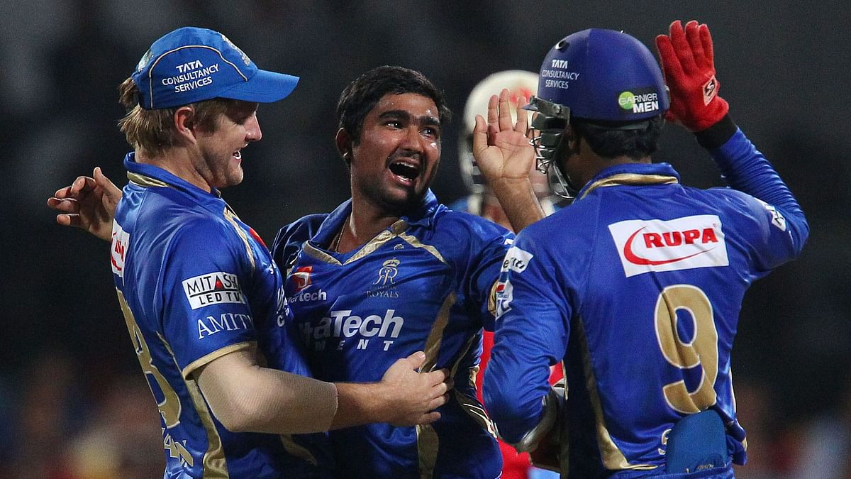 May, 2014 picture of Rahul Tewatia celebrating an IPL wicket with his Rajasthan Royals team-mates.