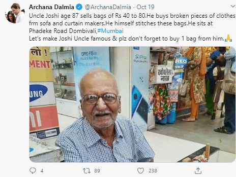 Twitter Supports 87-Year-Old Mumbai Man Selling Recycled Bags