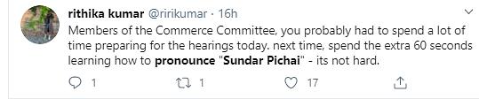 US Senators Mispronounce Sundar Pichai's Name, Twitter Is Furious
