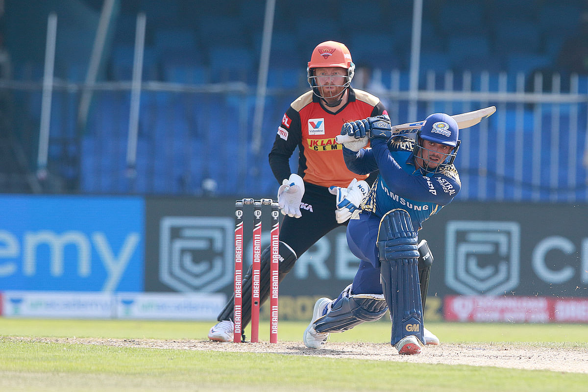 Quinton de Kock put up 42 runs for the second wicket with Suryakumar Yadav before scoring 78 runs for the third with Ishan Kishan.