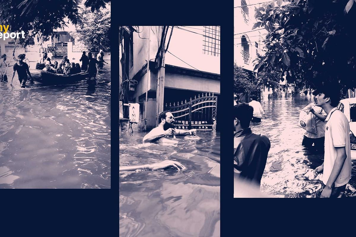 The roads are looking like rivers in Hyderabad in what has been the worse rainfall in years.