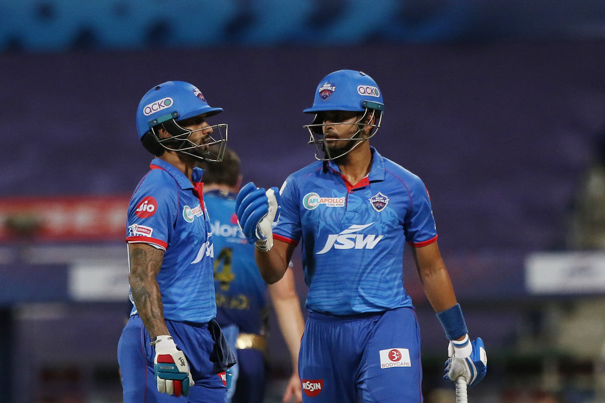Skipper Shreyas Iyer and opener Shikhar Dhawan steadied Delhi's innings with an 85-run partnership.