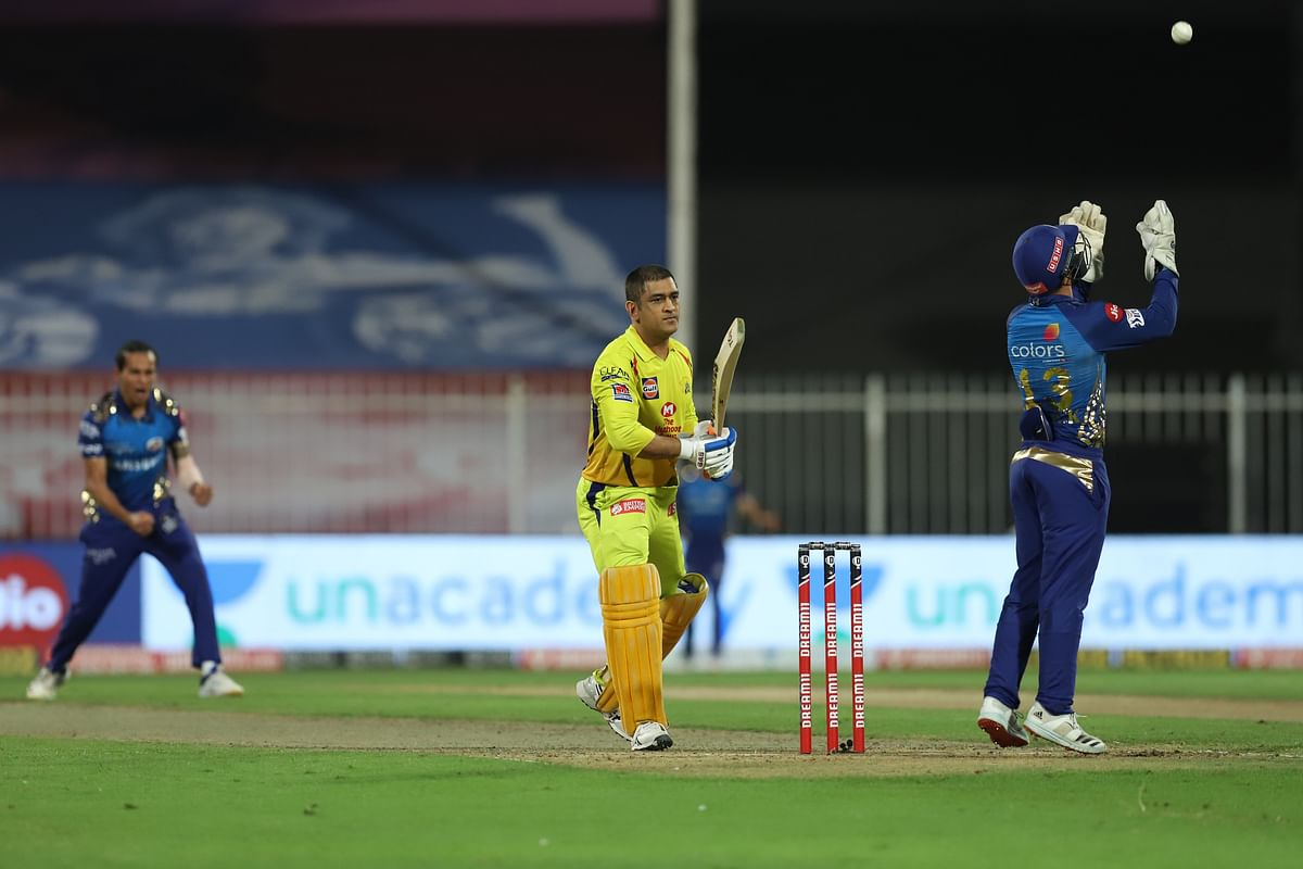 Captain Dhoni (16-ball 16) became Rahul Chahar's first victim of the day.
