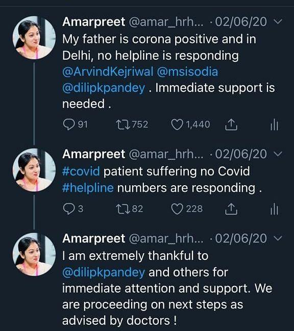 Amarpreet's tweet on 2 June 2020.