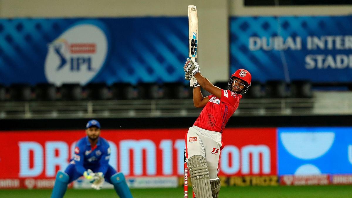 Pooran plays a shot en route his 53.