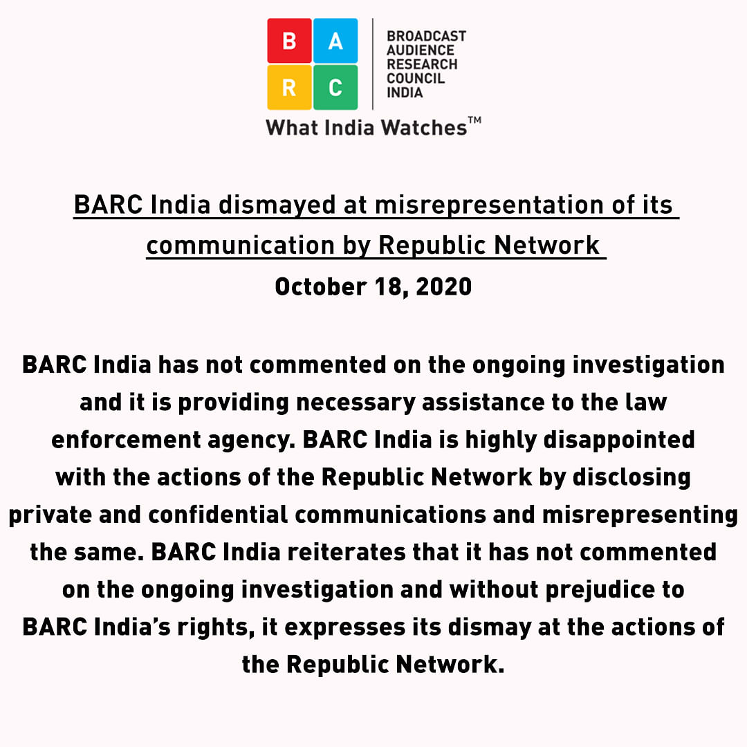 BARC expressing its dismay at the actions of Republic Network.