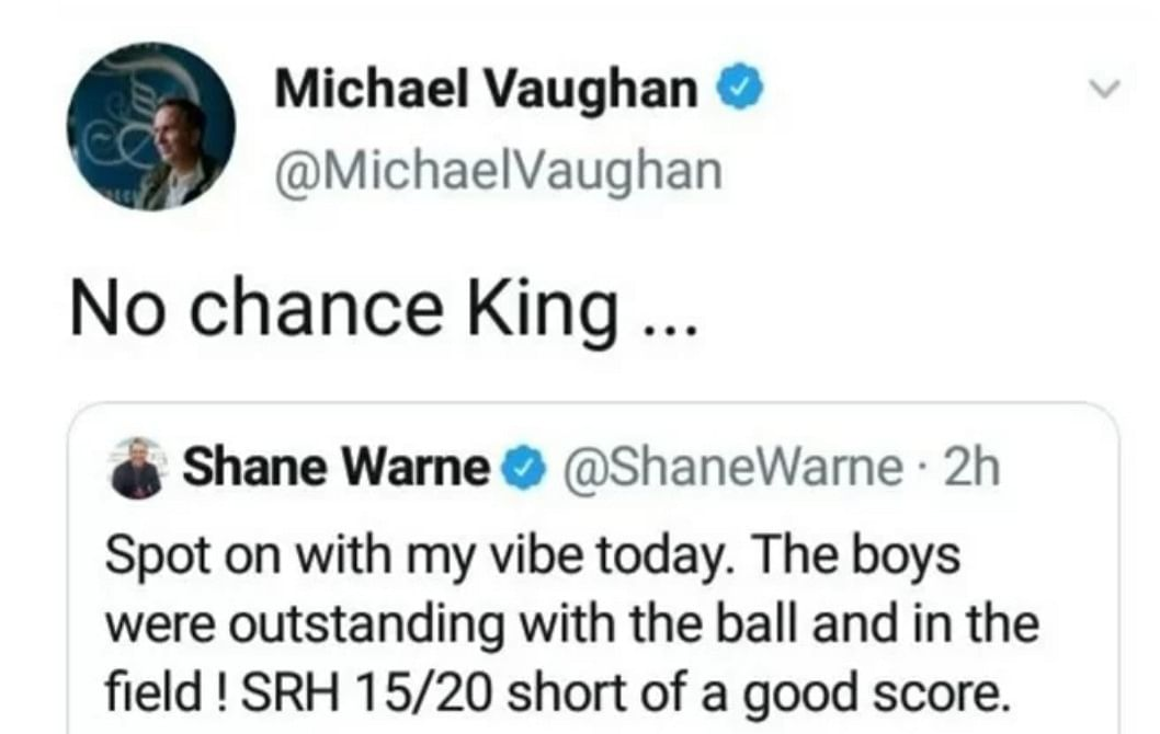 Vaughan Deletes Tweet as Warne Gets His 'Vibe' Right About RR Win