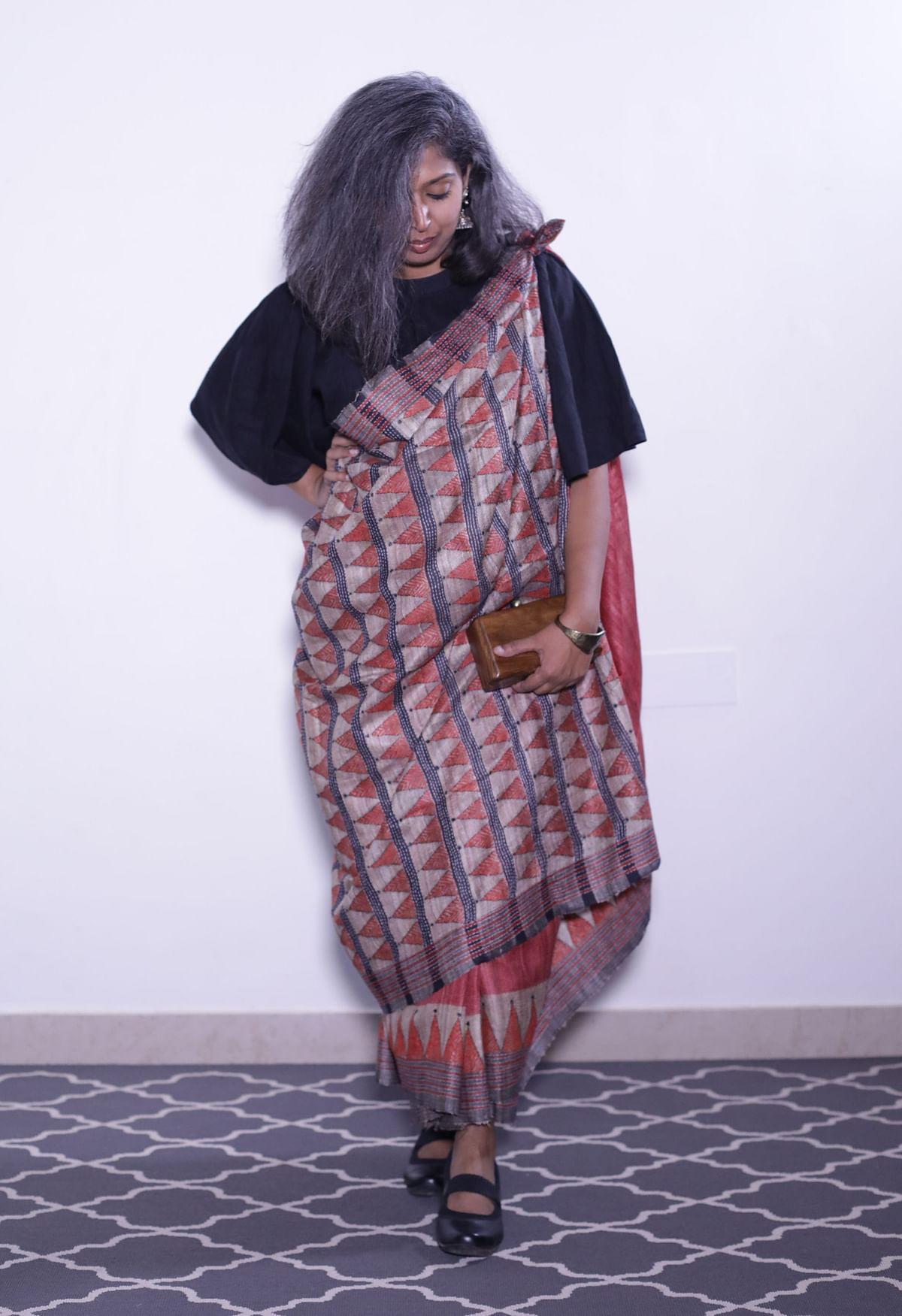 Aparna show off the Karnataka style drape.