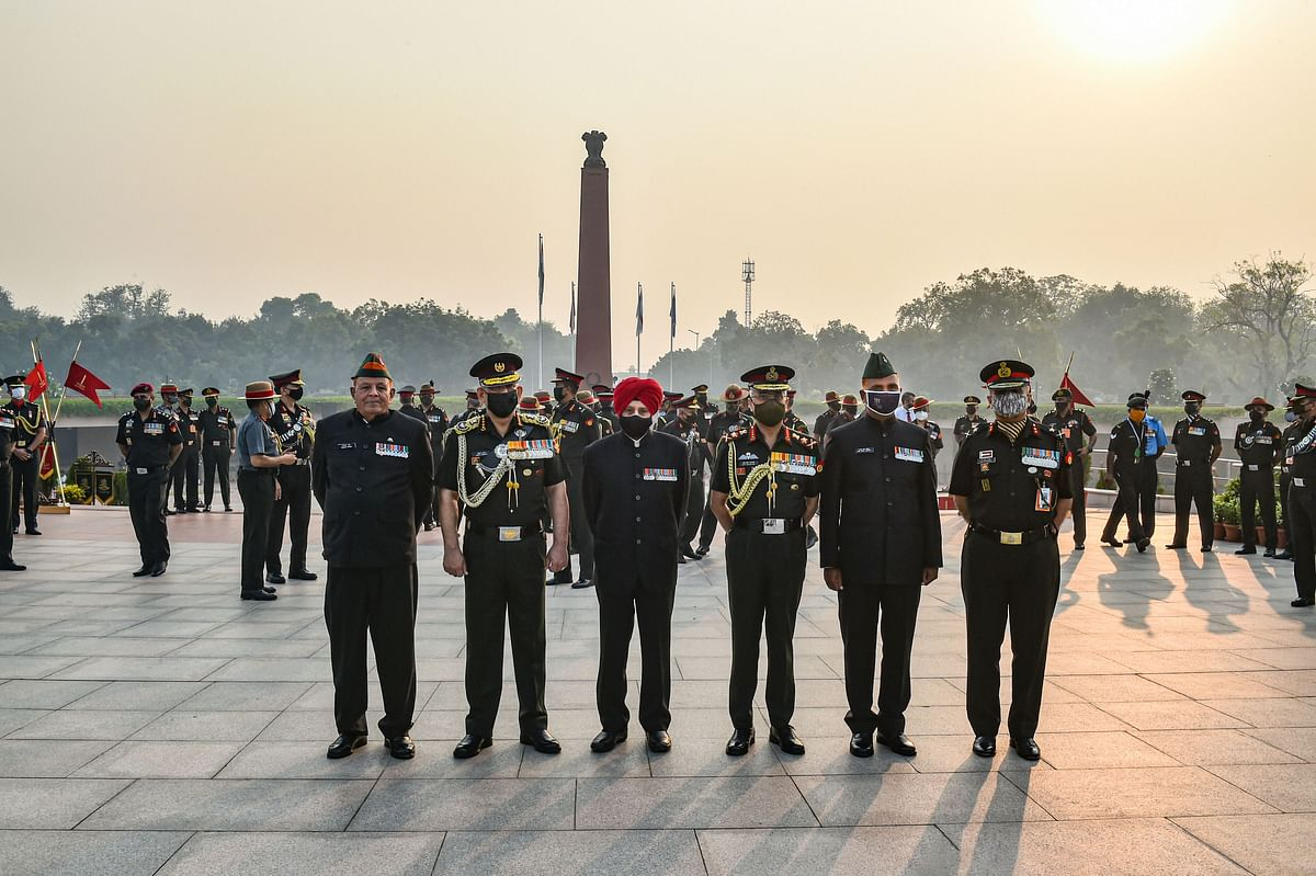 Chief of Defence Staff, General Bipin Rawat along with Chief of Army Staff, General MM Naravane and others at National War Memorial on Infantry Day, in New Delhi
