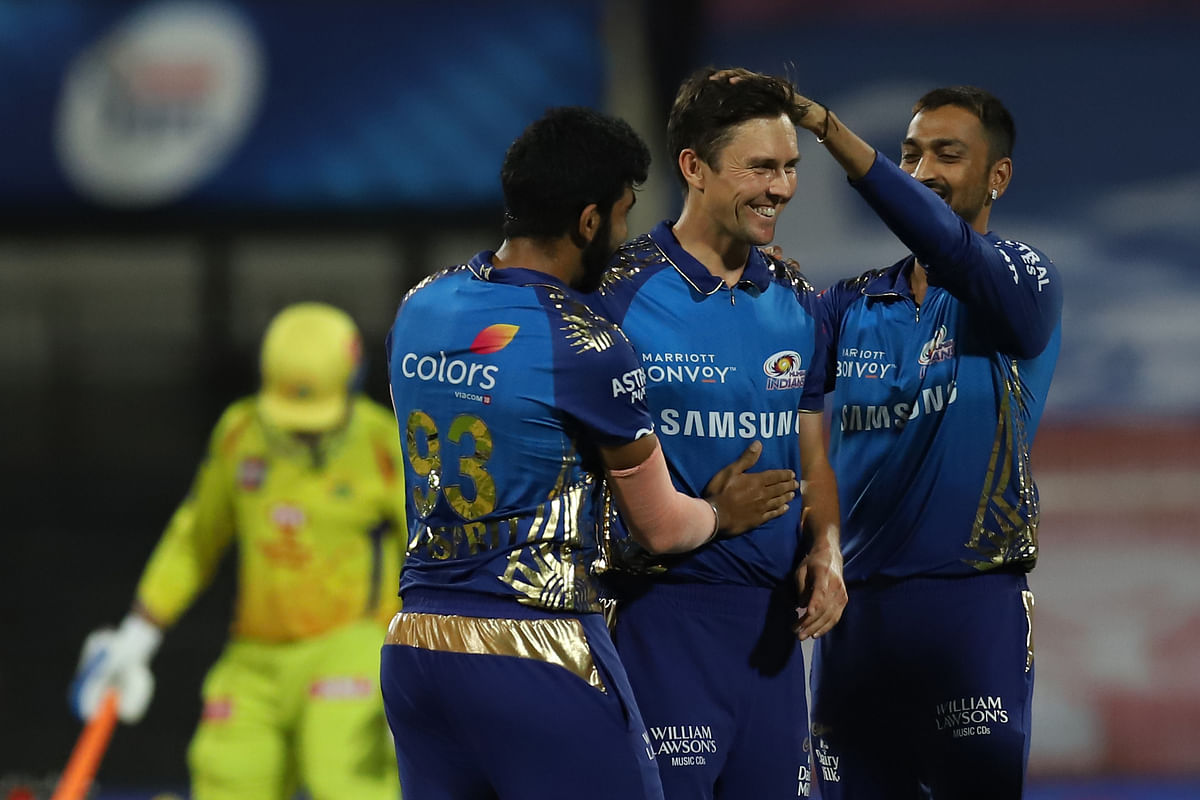 Boult finished with figures of 4 for 18 while Bumrah (2/25) and Rahul Chahar (2/22) picked up two wickets each.