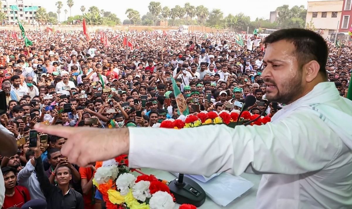 RJD leader Tejashwi Yadav addresses an election rally ahead of Bihar Assembly elections, at Hilsa in Nalanda District, Friday, 23 October 2020.