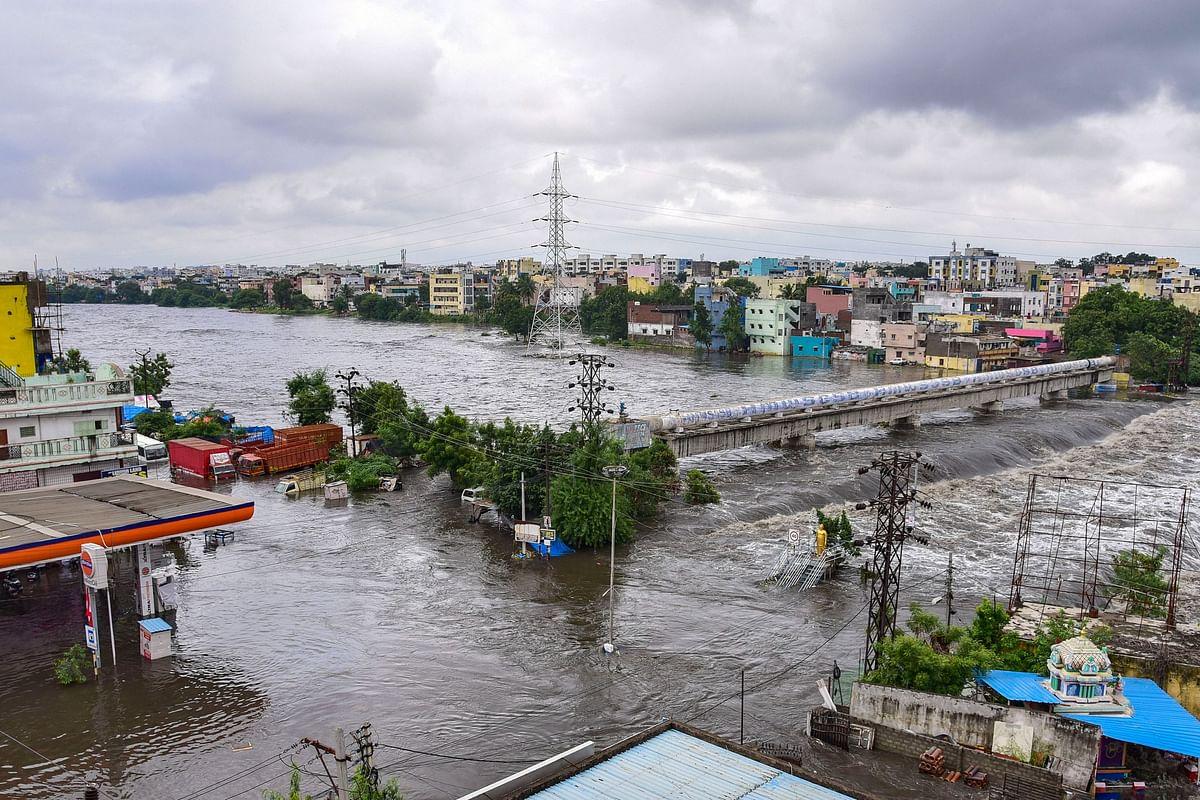 Durgam Cheruvu Cable Bridge submerged with floodwater following heavy rain, in Hyderabad.