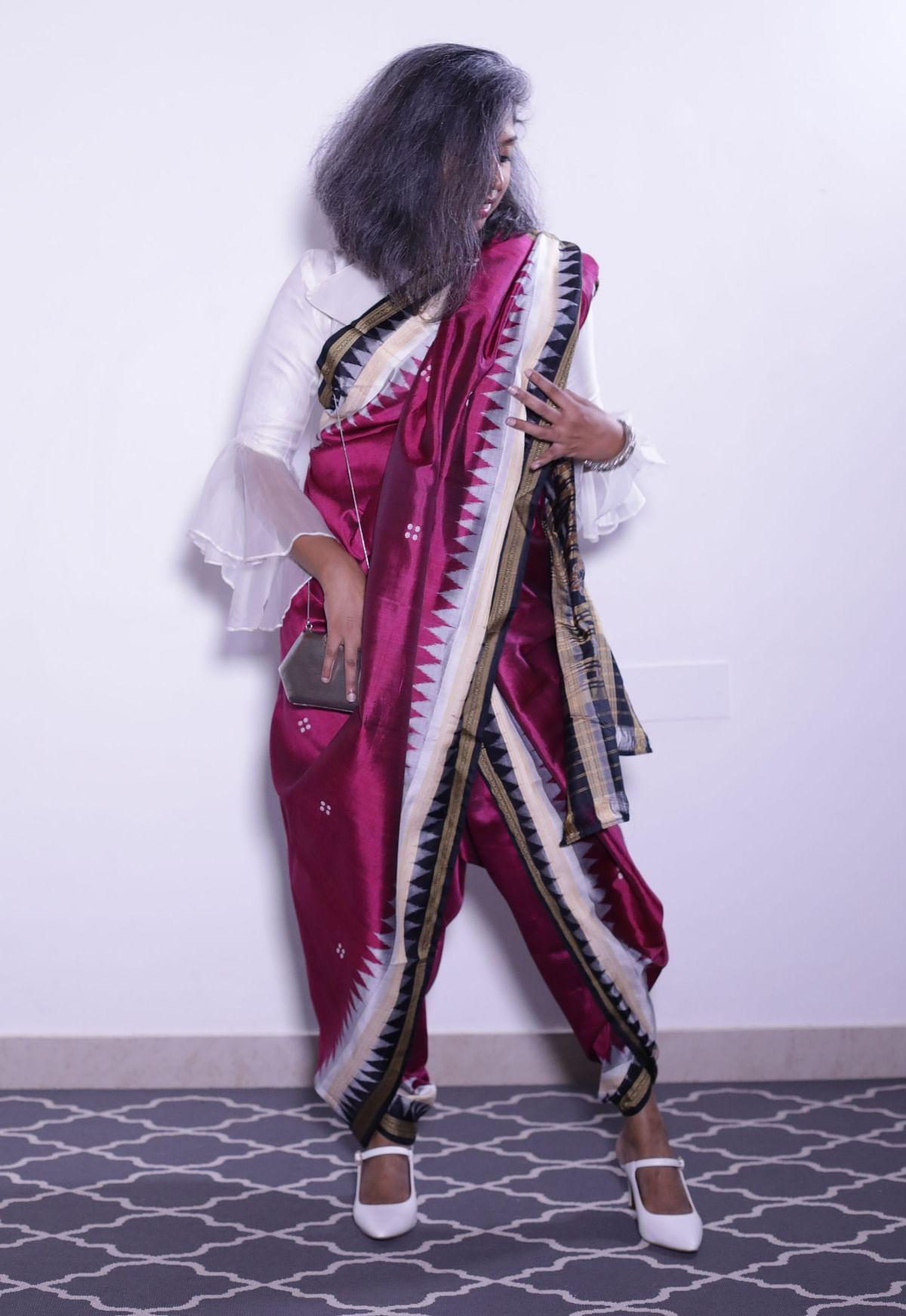 Aparna Rao in a Odisha style drape.