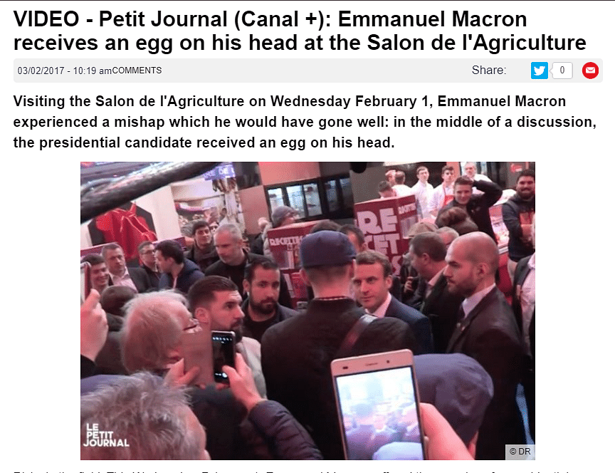 Old Video of French Prez Getting Egged Revived As Recent Attack