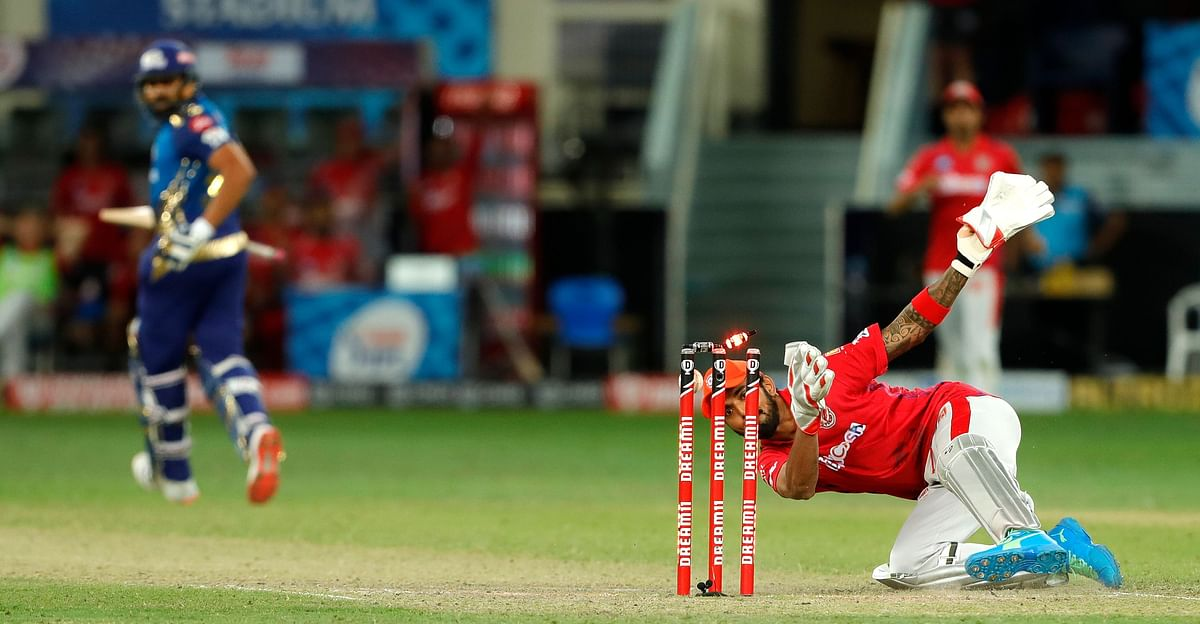 Mumbai Indians needed 2 runs off the last ball in the first super over, but KL Rahul's tumbling throw found Quinton de Kock short of his crease