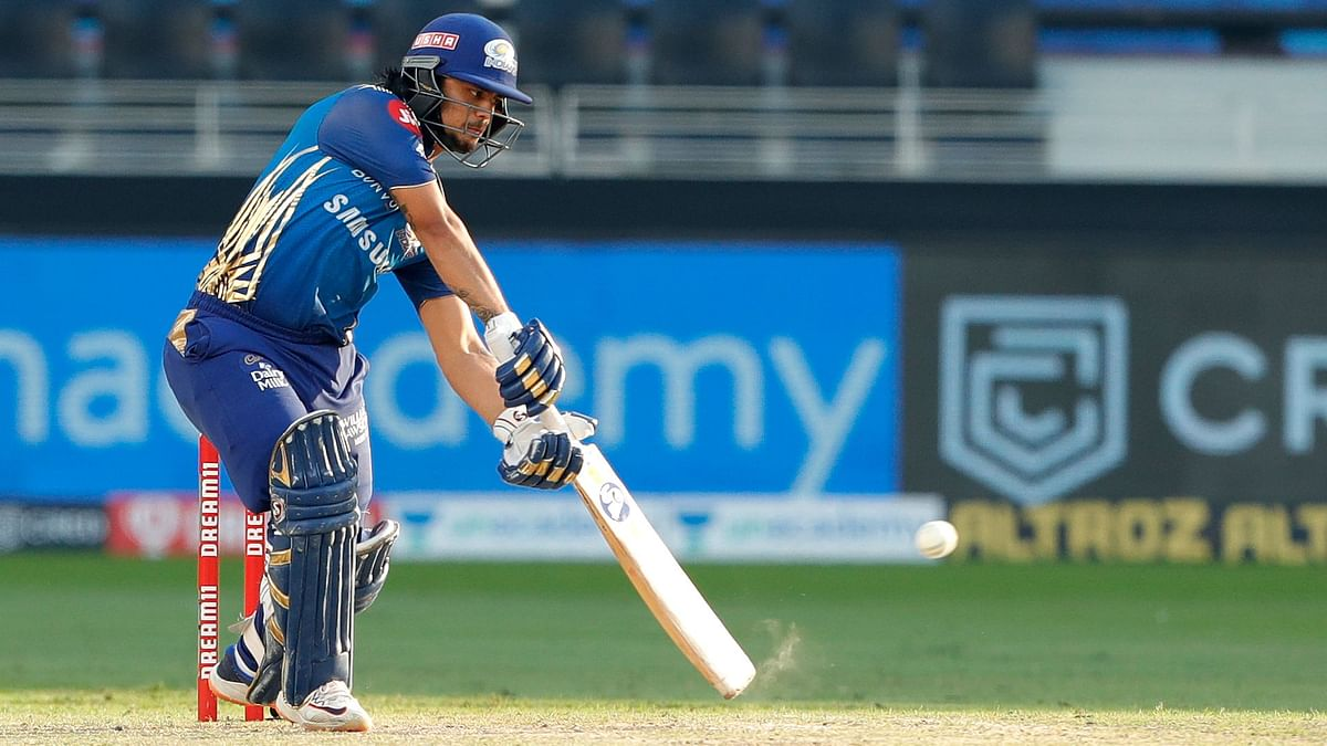 Ishan Kishan powers a drive through the off side during his match-winning knock against Delhi Capitals.