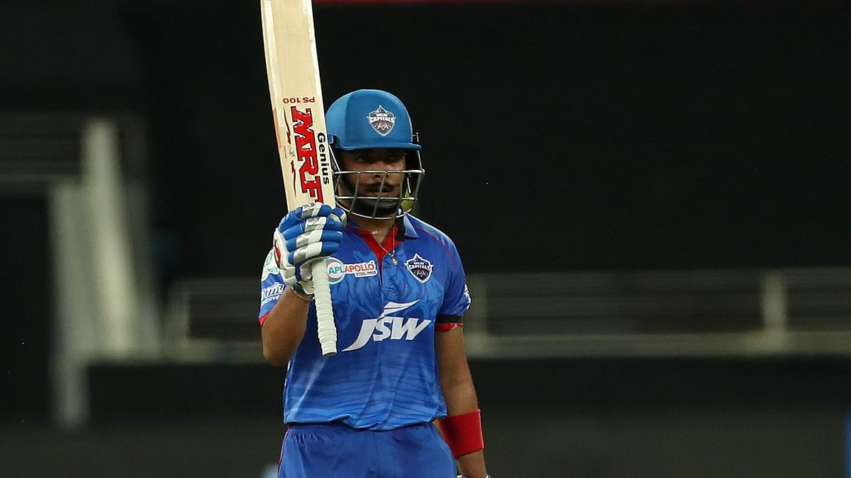 Prithvi Shaw of Delhi Capitals celebrates his fifty during match 7 of season 13 of the Dream 11 Indian Premier League (IPL) against Chennai Super Kings.