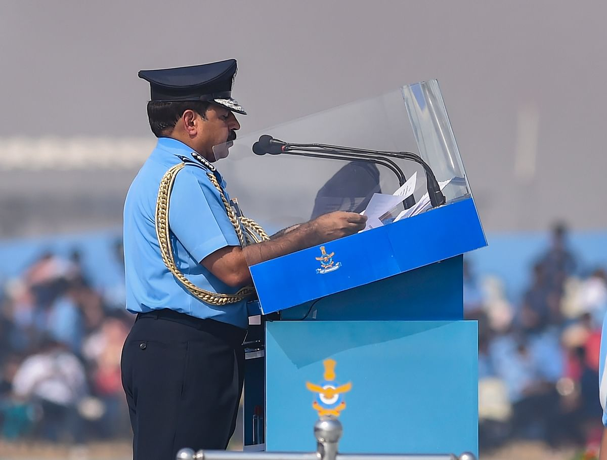 IAF Chief Air Chief Marshal RKS Bhadauria addresses during the 88th Air Force Day celebrations at Hindon airbase in Ghaziabad.