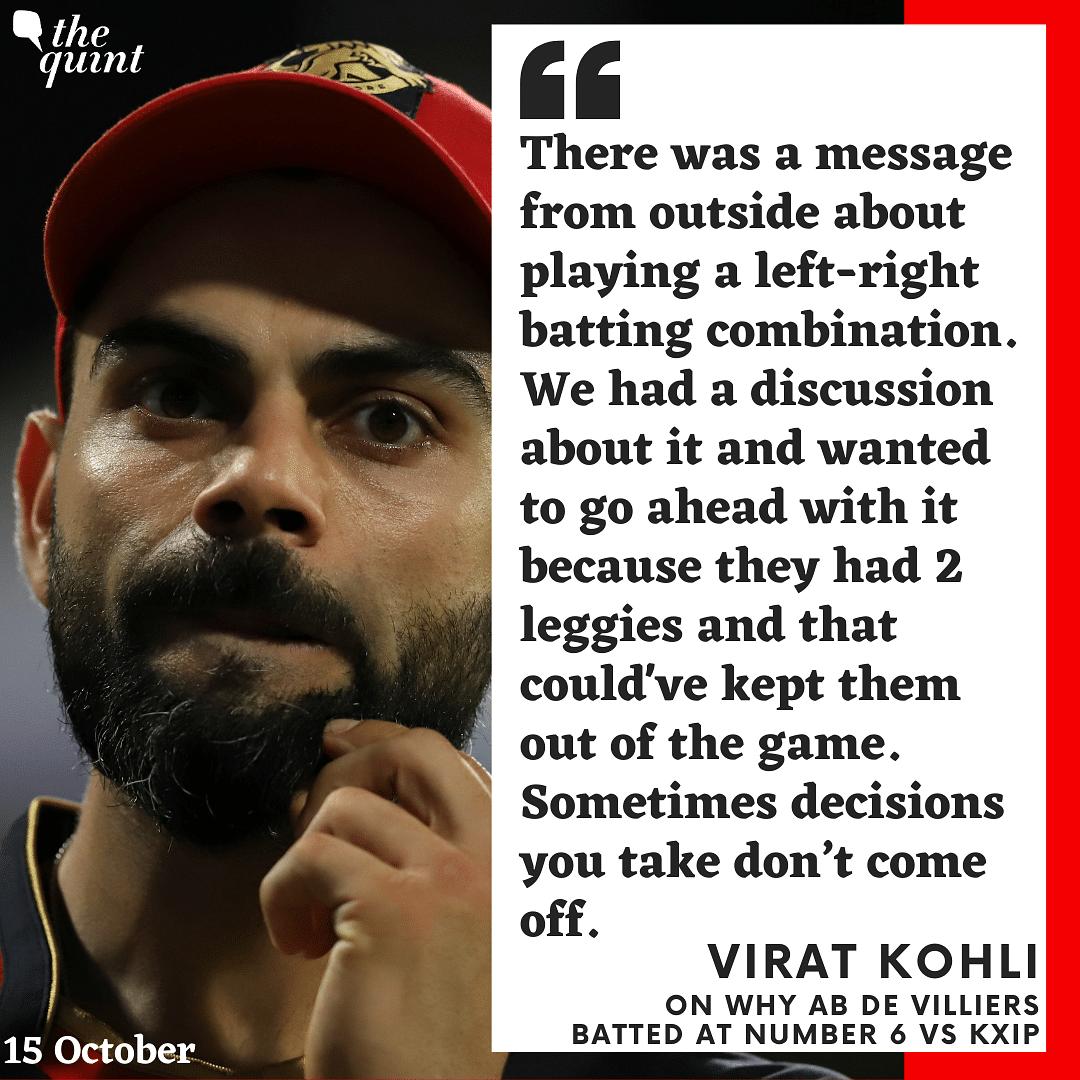 Virat Reveals Why AB de Villiers Came to Bat at Number 6 vs KXIP