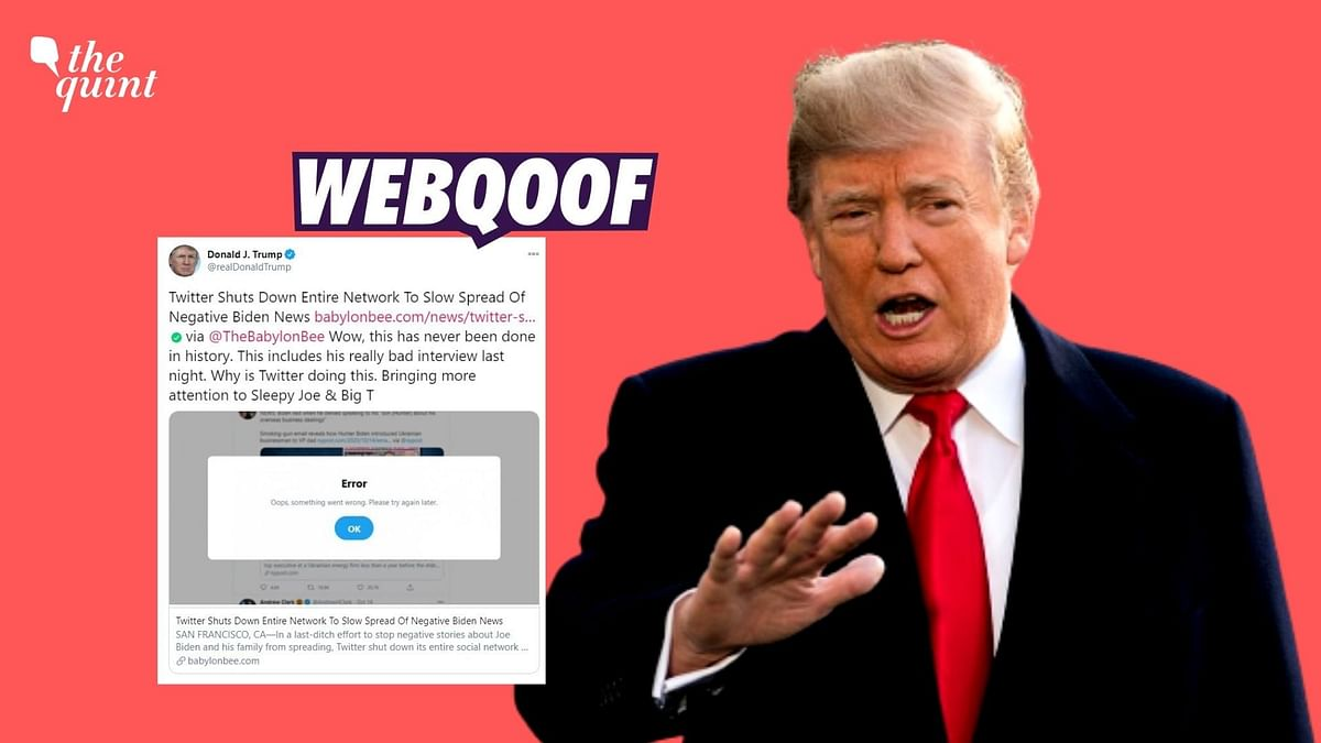 President Trump shared a report by a satire website to claim that Twitter shut down an entire network to slow down the spread of negative Joe Biden news.