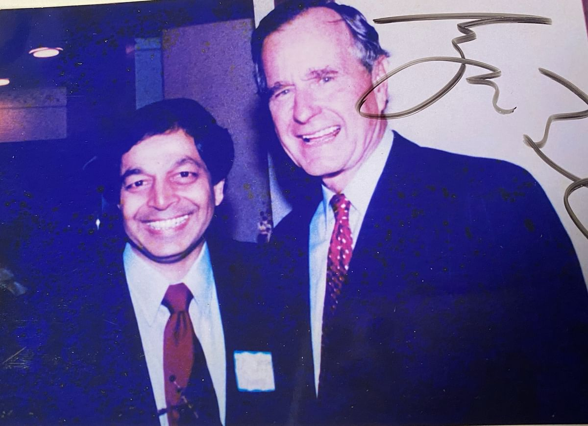 Sampat Shivangi with HW Bush