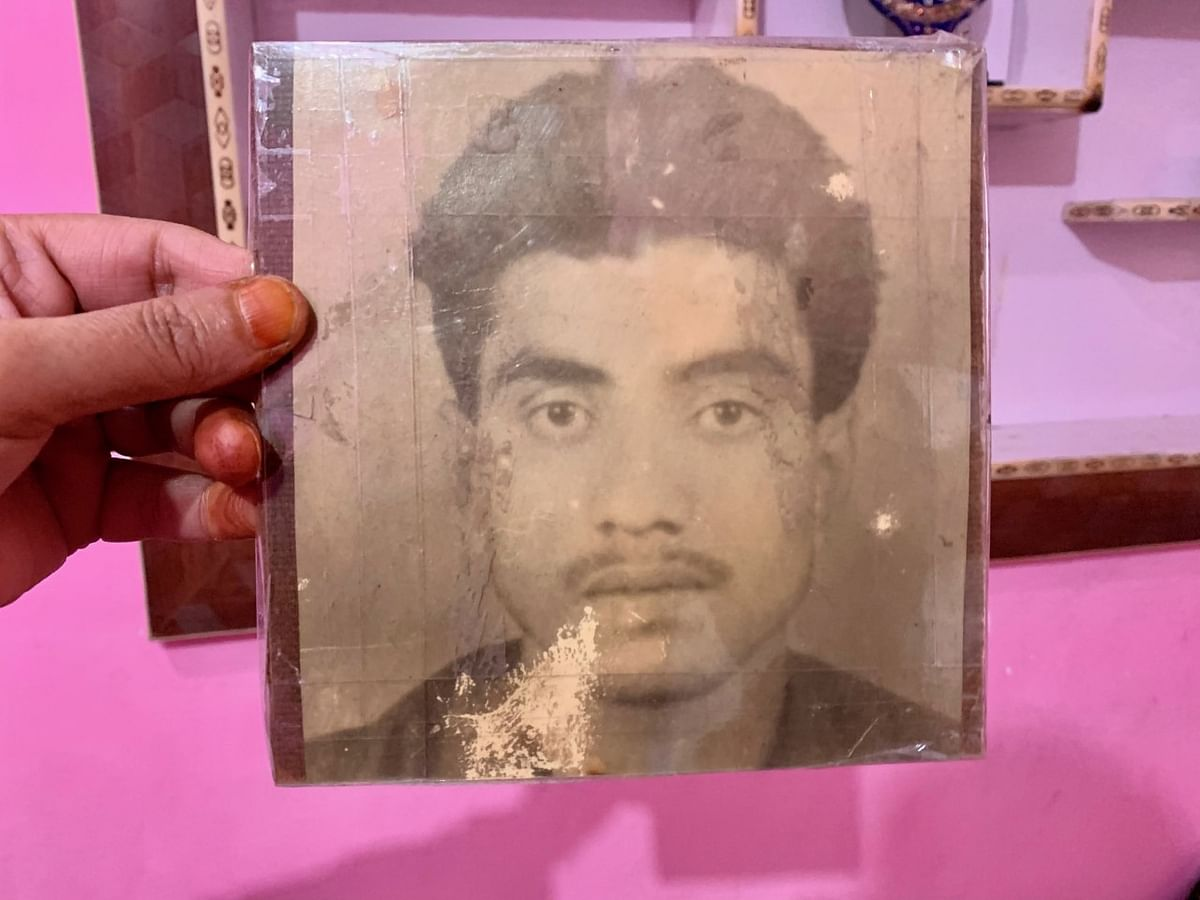 A photo of Javed Ahanger, son of Parveena Ahanger who went missing in 1990.