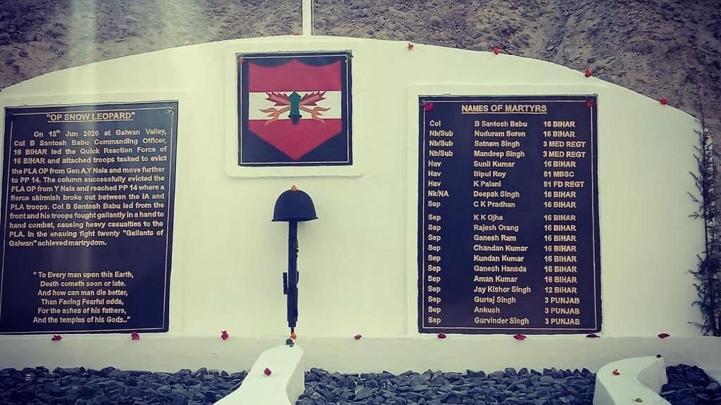 Memorial Built For the 20 Soldiers Who Were Martyred In Galwan