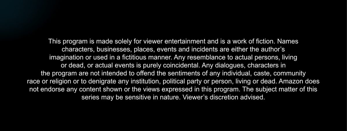 The Disclaimer note before <i>Mirzapur.&nbsp;</i>