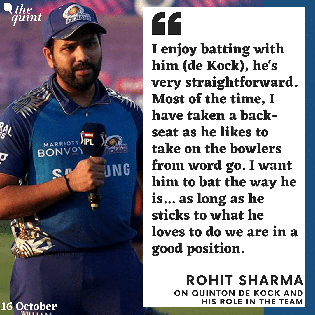 Rohit Sharma spoke about De Kock's role in the MI line-up after the game