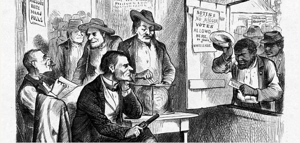 During segregation, violence, represented here by the gun, underpinned all other methods to keep Black people from voting. Harper's Weekly, October 31 1874.
