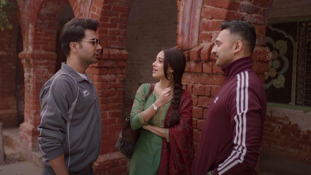 Rajkummar Rao, Nushrat Bharucha and Mohammed Zeeshan in <i>Chhalaang.</i>