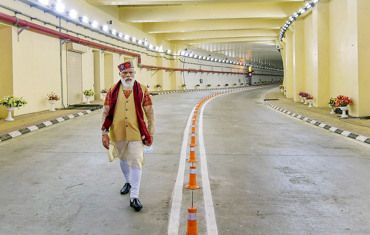 Prime Minister Narendra Modi during the inauguration of Atal Tunnel, in Manali, Saturday, 3 October.