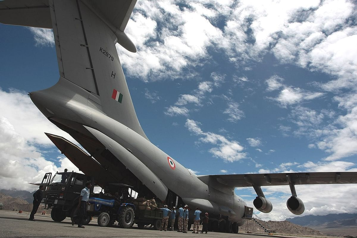 An IL-76, off-loading cargo at Leh Airport.