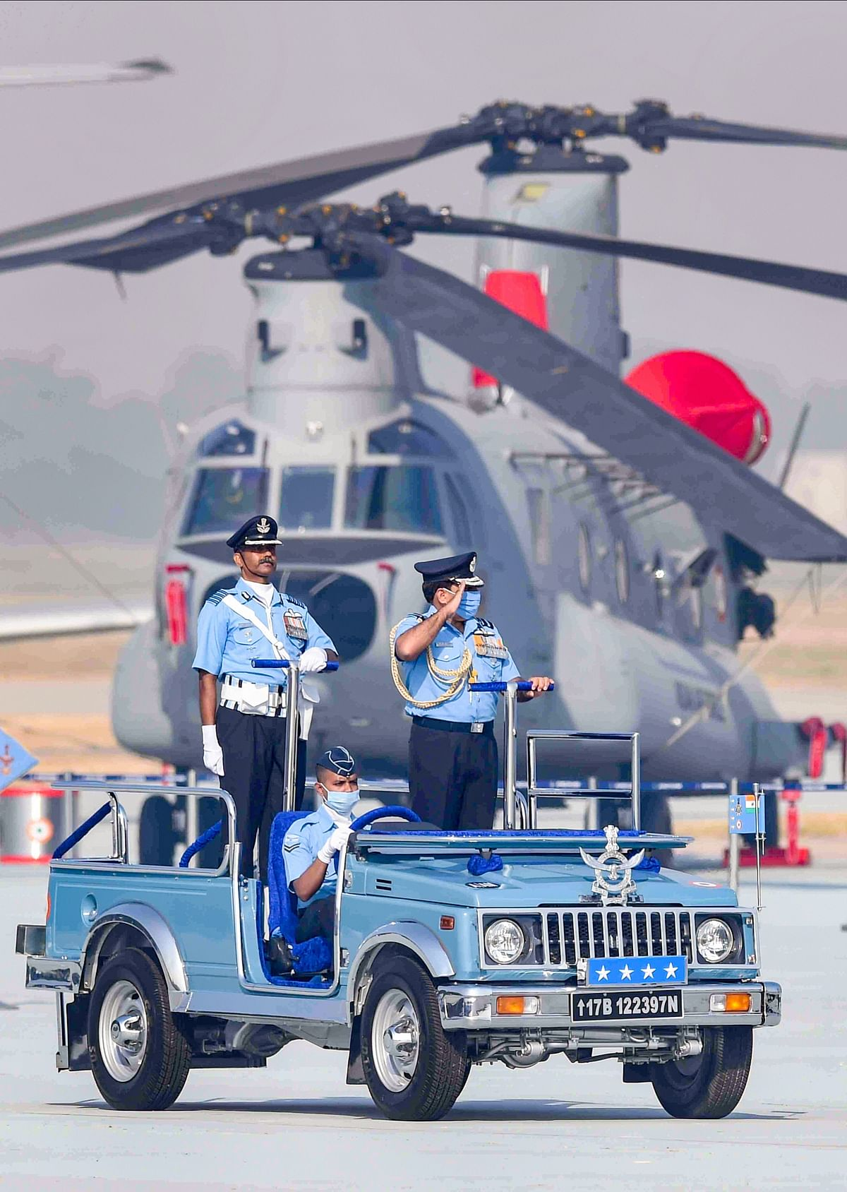 IAF Chief Air Chief Marshal RKS Bhadauria inspects a guard of honour during the 88th Air Force Day celebrations at Hindon airbase in Ghaziabad.