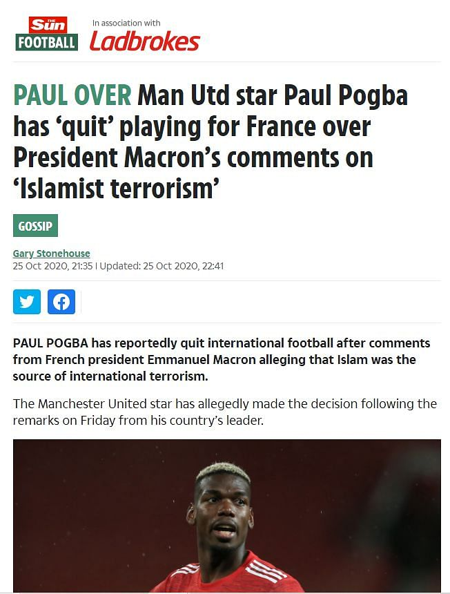 """An archive of the post can be found <a href=""""https://web.archive.org/web/20201025224931/https://www.thesun.co.uk/sport/13020178/man-utd-paul-pogba-quits-france/"""">here</a>."""