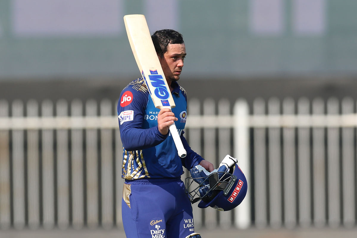 Quinton de Kock of Mumbai Indians celebrates his half century during match 17 of IPL 2020.