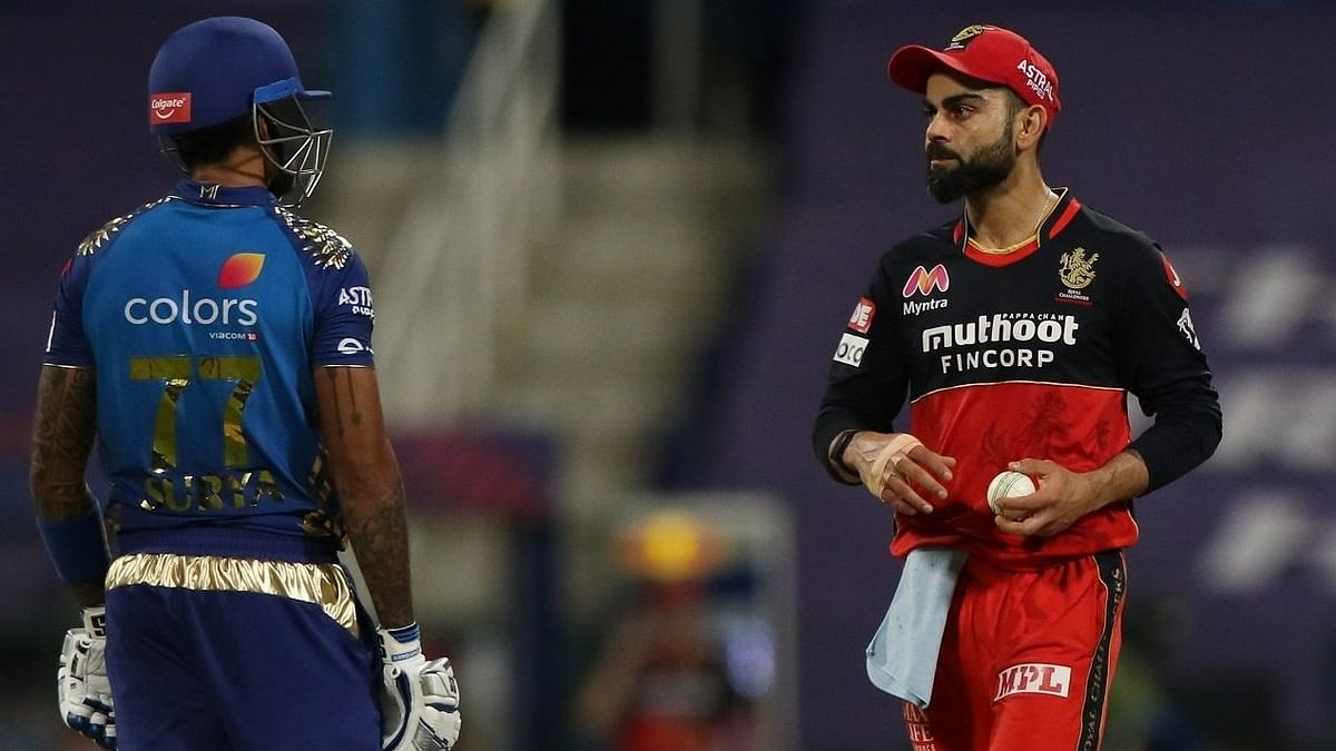 Suryakumar Yadav gave a stare to RCB skipper Virat Kohli after latter chirped few words at him at the end of 13th over of MI innings.