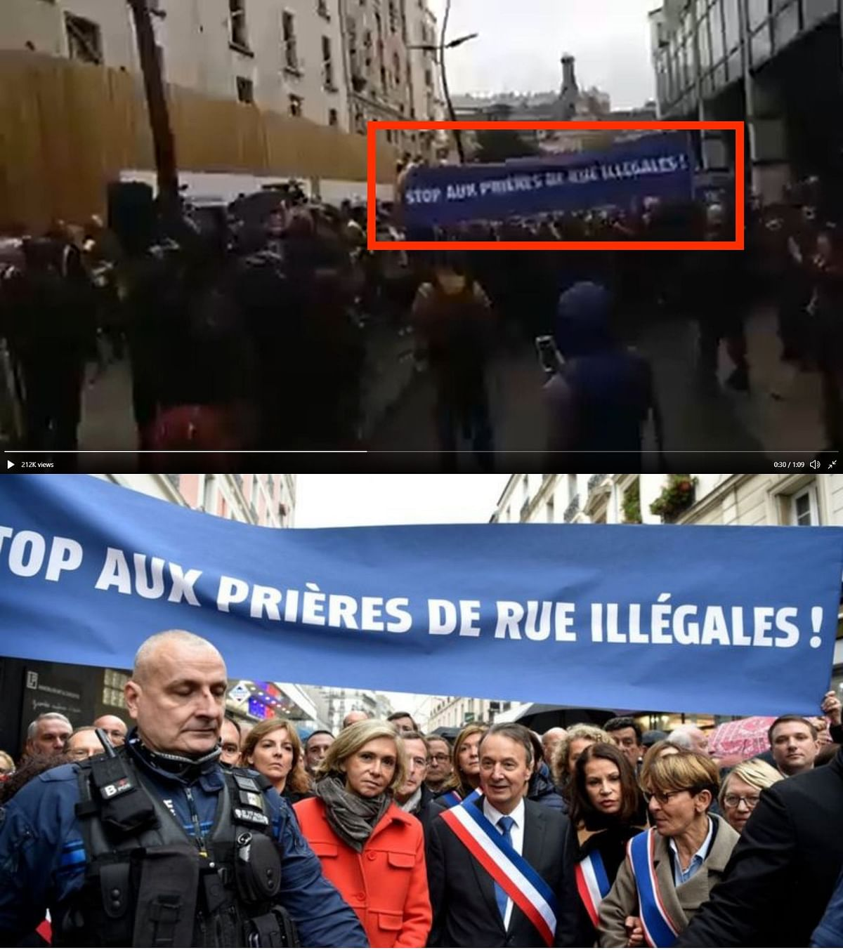 The banner in the viral video (Top) and BBC's report (Bottom).