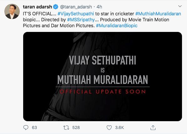 Vijay Sethupathi To Play Muthiah Muralidaran in Latter's Biopic