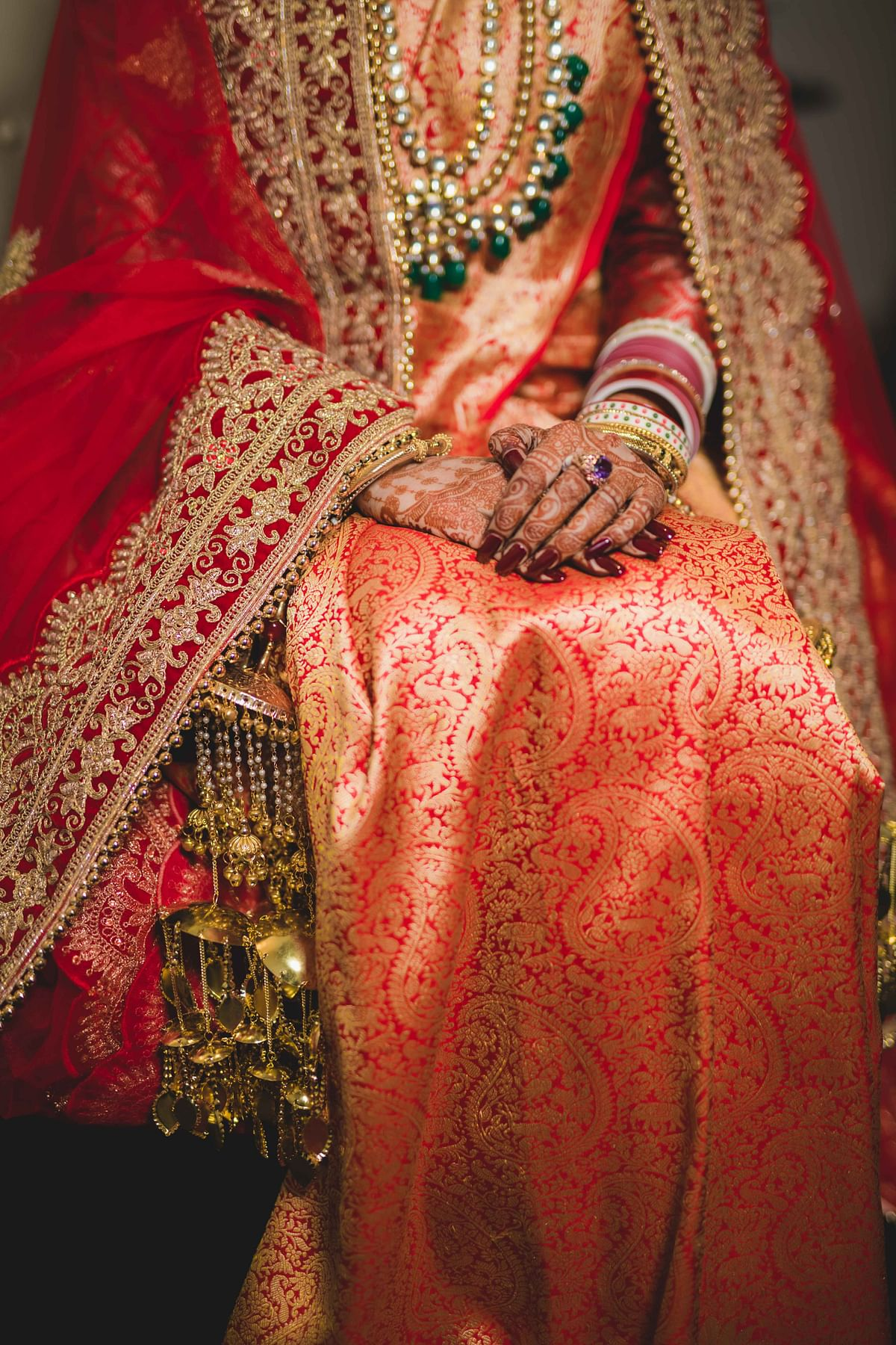 Author's wedding saree, Banarasi with shikargah motifs.