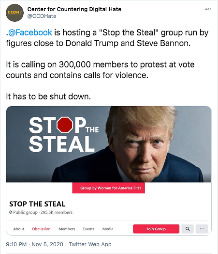 'Stop the Steal' Group Sows Election Misinformation, FB Bans It