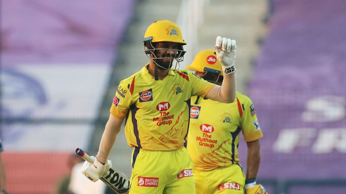 Ruturaj Gaikwad of Chennai Superkings celebrates his fifty during match 53 of season 13 of the Dream 11 Indian Premier League (IPL) between the Chennai Super Kings and the Kings XI Punjab.