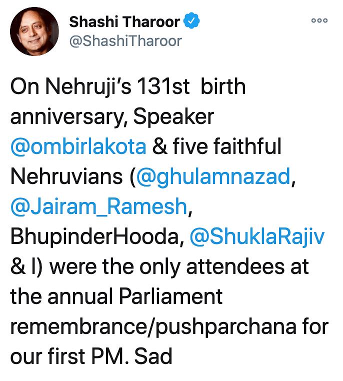 Shashi Tharoor pays his respect to Pandit Nehru